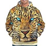 YOUYO Spark Sudadera con capucha para hombre con diseño de leopardo con diseño de animal, Hombre, blanco, XXL
