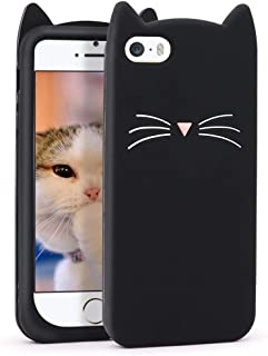 Megantree iphone 5 case, iphone 5s case, Cute Funny 3D Cartoon Animal Black Whisker Cat Ears Kitty Case, Soft Silicone Shockproof Slim Fit Back Cover Cases for iphone 5/ iphone 5s/ iphone 5C/iphone SE