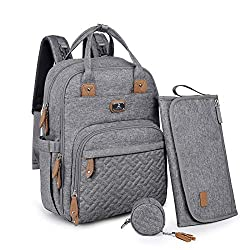commercial diaper bag backpack Portable Diaper Padded Diaper Bag Backpack Nipple Cover and Baby Strap Large Dikaslon Unisex Baby Bag for Boys and Girls Multifunctional Mom and Daddy Travel Backpack Gray