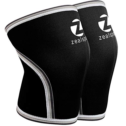 ZEALSPOT Knee Sleeves(1 Pair) Compression & Support for Weightlifting, WOD, Squats, Gym, Powerlifting & Crossfit-7mm Neoprene Knee Brace-Both Women & Men,Black,L