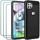 ivoler Funda para Motorola Moto G 5G con 3 Unidades Cristal Templado, Fibra de Carbono Carcasa Protectora Antigolpes, Suave TPU Silicona Caso Anti-Choques Case Cover - Negro