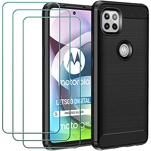 ivoler Hülle für Motorola Moto G 5G mit 3 Panzerglas Schutzfolie, Schwarz Stylisch Karbon Design Anti-Kratzer Handyhülle Stoßfest Schutzhülle Cover Weiche TPU Silikon Hülle
