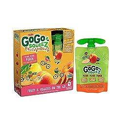 GoGo squeeZ Fruit & VeggieZ on the Go, Apple Peach Sweet Potato, 3.2 Ounce (4 Pouches), Gluten Free,