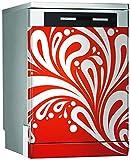 MEGADECOR Vinilo Decorativo para Lavavajillas, Medidas Estandar 67 cm x 76 cm, rizos Abstractos sobre Fondo Rojo
