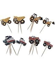 FLAMEER Set van 48 Papieren Auto Cupcake Prikkers Voedsel Sticks voor Verjaardagsfeestje voor Kinderen