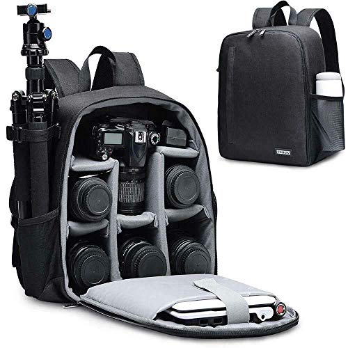 CADeN DSLR SLR Camera Backpack Bag for Mirrorless Cameras/Photographers, Camera Case Water-Repellent Compatible with Nikon Canon Sony Lens Tripod Accessories Photography Men Women (Black, Small)
