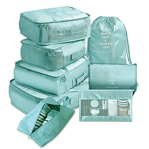 HUIKJI Juego de 8 organizadores de equipaje,Viaje con cubos de embalaje,Organizadores de equipaje de viaje con bolsa de lavandería para accesorios de viaje mujeres y hombres, azul claro, M, Moda