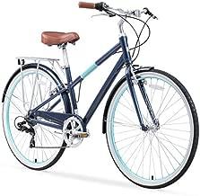 sixthreezero Reach Your Destination Women's Hybrid Bike with Rear Rack, 28 Inches, 7-Speed, Navy
