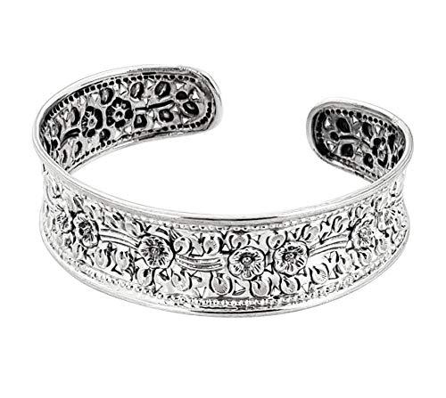 TreasureBay Pulsera de plata de ley de 17 mm para mujer y niña