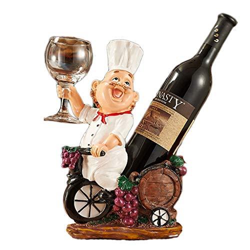 Botelleros Botellero vino Chef estante del vino Escultura Estante de almacenamiento de resina de belleza, diosa de la concha, Elk vino del arte titular de la botella de vino estante de la taza Sala vi