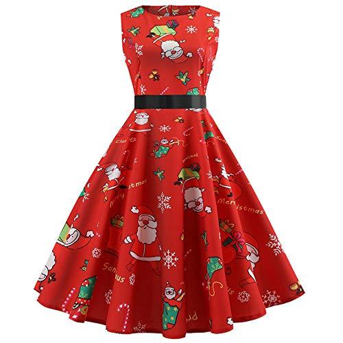 MRULIC Mädchen Kleid Ballkleid Abendkleid Minikleid Weihnachts Geschenk Ärmellos Winterrock Festliches Kleid Mehrfarbig Verfügbar Mode Neue Kleider 2018 (G-Rot,EU-36/CN-M)