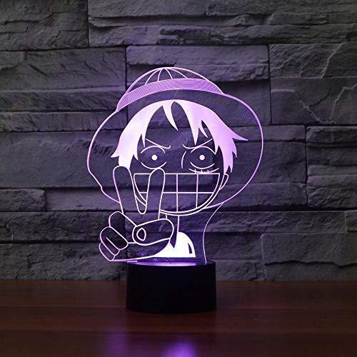 Lámpara De Ilusión 3D Luz De Noche LED Lámpara De Mesa Luffy LED Iluminación Para Dormir De Bebé Gradiente De Colores Luz De Noche De Anime Decoración De Dormitorio Regalos Para Niños