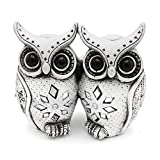 Owl Figurine Couple Set Very Cute Statue, 2 White Owls Together - Nice Decoration for Home Office, White/ Black