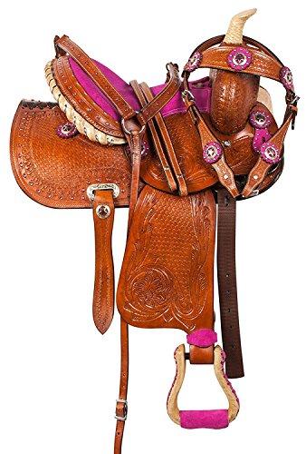Deen, Enterprises Aparejos de cuero de primera calidad para caballos, caballos, cabeza de cuero a juego, collar de pecho, riendas, tamaño de asiento de 35,5 cm a 45,7 cm (asiento de 41,9 cm)
