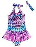 RAISEVERN Baby Girls Swimsuit One-Piece Bathing Suit Bowknot Ruffle Swimwear Breathable Bikini Mermaid Beach Party Holiday with Headband 3-4T