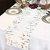Smurfs Yingda Tischläufer Druck-Motiv mit Blumenmuster Vintage Frühling Schmetterlinge Tischdecke Tischband Polyester abwaschbar weiß 35x180cm - 3