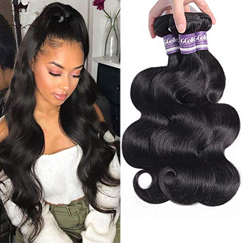 Body Wave Bundles of Brazilian Human Hair 3 Bundles Weave for Black Women 100% Unprocessed CCOLLEGE Mixed Length Virgin Hair Human Bundles Deals Extensions 20 22 24 Inch
