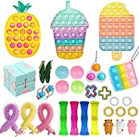 ストレス解消玩具スクイーズグッズプッシュポップ幼児知育子供大人兼用 人気な減圧バブルボードゲームおもちゃ 30点セット (03)