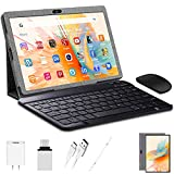 Android Tablet 10 inch,Tablet with Keyboard Mouse 3GB RAM 32GB ROM/128GB, Android 9.0 Pie, Dual SIM 4G, 8MP Camera, 8000mAh, Quad Core, OTG, GPS (Gray)