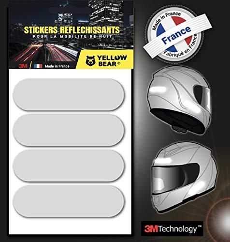 Yellow Bear© - Juego de 4 pegatinas reflectantes 3M ScotchliteTM Material, color blanco, para casco de moto, tallas homologadas Visible por la noche para su seguridad