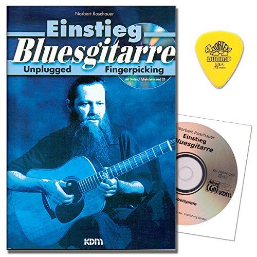 Einstieg Bluesgitarre Unplugged Fingerpicking - Bewährte, systematische Methode mit CD, Dunlop Plek für Bluesgitarren-Einsteiger von Norbert Roschauer