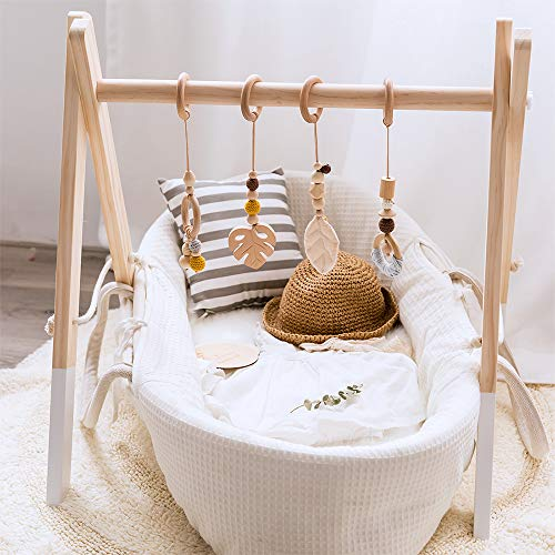 let's make Wood Baby Gym with 4 Wooden Pendant Toys Foldable Baby Play Gym Frame Activity Gym Hanging Bar Newborn Gift Baby Girl and Boy Gym
