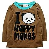 《初夏春秋対応》 ☆GARACH(ギャラッチ) 天竺 I HAPPY MAKES 長袖Tシャツ 80cm /BR NO.AH-1711407