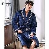 QFYD FDEYL Bata Muy Suave para Mujer o Hombre,Pijama de Lana Gruesa de Coral de Invierno de Tres Capas-3_180cm_yls1636, Plush Robe Mujer
