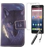Lankashi Wolf 3in1 Set PU Flip Leder Tasche Für Alcatel One Touch Pixi 4 6