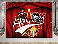 ハリウッド映画祭の背景写真10x7FTポップコーンテープ写真の背景のための新しいハリウッドレッドカーペットの背景スタンドパーティー壁紙部屋壁画小道具ソフトコットンMSDLS268