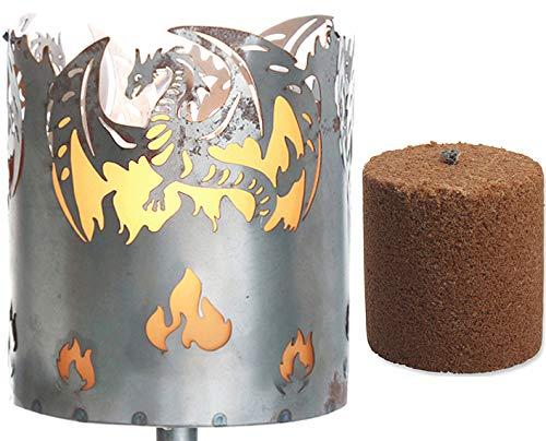 Novaliv Gartenfackel Drache Feuerschale Metall mit Stiel und Brennmittel