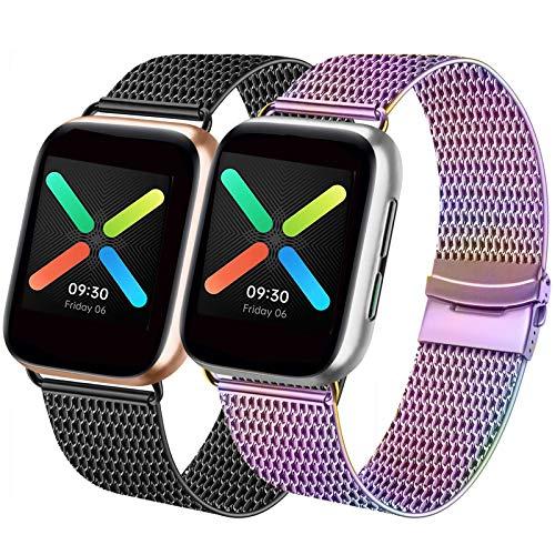 Mugust Lot de 2 bracelets de rechange compatibles pour Apple Watch 42 mm, 44 mm, 38 mm, 40 mm, en acier inoxydable, compatible avec iWatch Series SE/6/5/4/3/2/1 (multicolore/noir, 38 mm/40 mm)