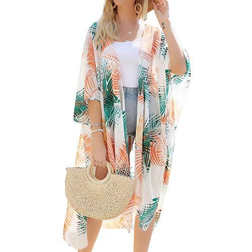 YONHEE Cárdigan largo kimono con estampado floral, cubierta, estampado floral, chal suelto, boho, para casual, hogar, oficina, fiesta, playa, traje de baño para mujer [medio] Blanco-a