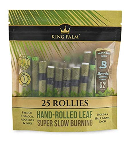 King Palm Rollie Size Cones (1 Packs of 25, 25 Rolls Total) Natural Pre Roll Palm Leafs - Pre Rolled Cones - All Natural Cones - Corn Husk Filter Preroll Cones - Cones with Filter - Organic Cones