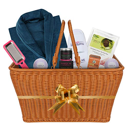 The I want to Impress You Luxury Bath Spa Gift Basket for Women or Men.Great Luxury Gift. Quality and Permanent Use Items Highlighted by a Luxury Velour Unisex Bath Robe (SINGLE)
