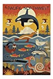 Pacific Northwest - Marine Animals - Geometric (Premium 1000 Piece Jigsaw Puzzle for Adults, 19x27, Made in Germany!)