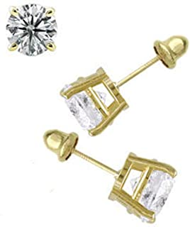 14K Yellow Gold 4mm Round Simulated Diamond Stud Earring Set on High Quality Prong Setting, Screw Back Post