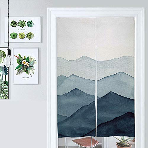SUPNON Design Japanese Traditional Doorway Curtain Abstract Blue Watercolor Waves Mountains On White Door Curtain for Kitchen Bistro Partition Shading Home Decorative SW134520 33.5 by 59 inch