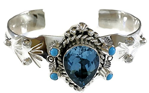 Chaco Canyon Couture .925 Sterling Silver Cuff Bracelet Swiss Blue Topaz Turquoise Handcrafted Native American Jewelry