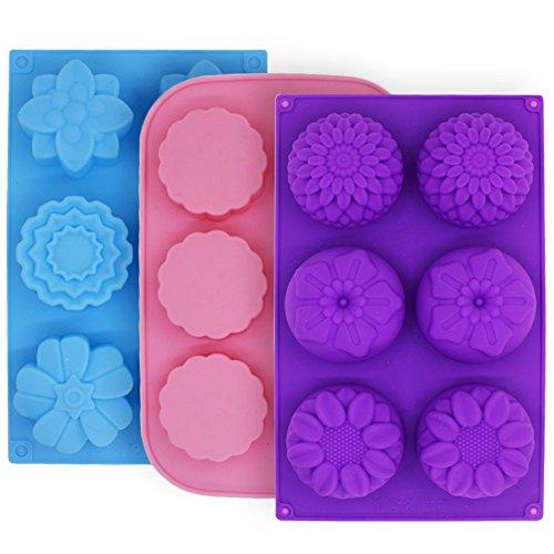 FineGood Molde de Pastel de Silicona con 3 moldes para Pastel, moldes de Flores Hacer Galletas de Chocolate con gelatina, Bandejas de jabón Artesanal de Bricolaje, 6 cavidades, Azul, Rosa