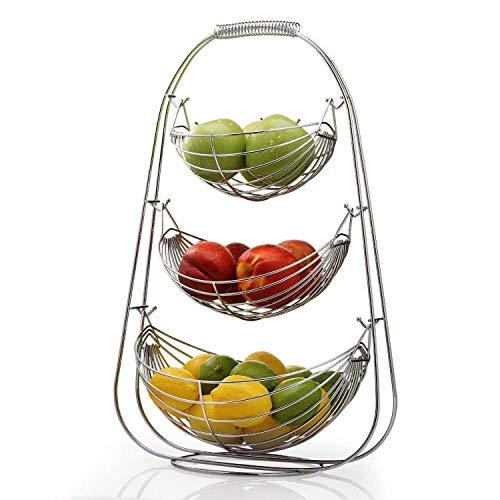 NONMON Cesto di Frutta in Metallo Cromato a 3 Ripiani,Portafrutta a Forma di Amaca,Espositore di Grande Capacità,Supporto per Frutta Verdura Fresca,Decorazione Moderna per Pane Casa Cucina