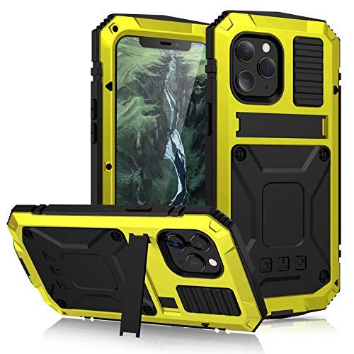 qichenlu [Standard Militare Antiurto Giallo Custodia Compatibile con iPhone 12 Mini,con Protezione Schermo in Metallo Ibrido Silicone Custodia Impermeabile Compatibile con iPhone 12 Mini