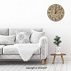 PUYANG 12 Inch Silent Vintage Round Wall Clock Vintage Leaves Daisy Silhouettes Ornate Environment Elements Arabic Numerals Vintage Rustic Chic Style Wooden Round Home Decor Wall Clock