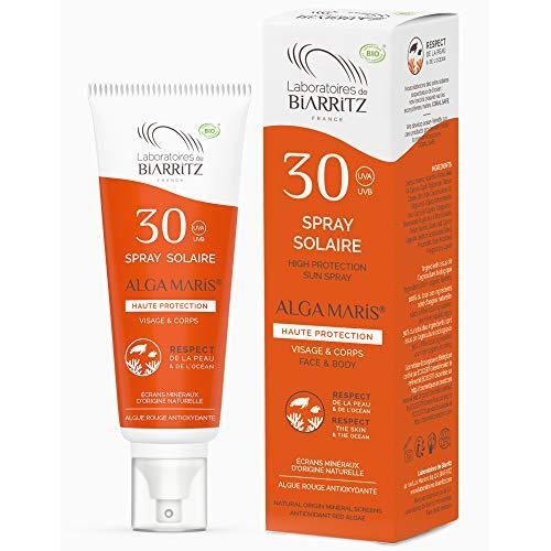 Laboratoires de Biarritz - Crème Solaire en Spray - SPF30 - ALGA MARIS® Certifiée Bio - Visage et Corps - Pour Adulte - Texture Fluide et Légère - 100 ml - Fabriqué en France