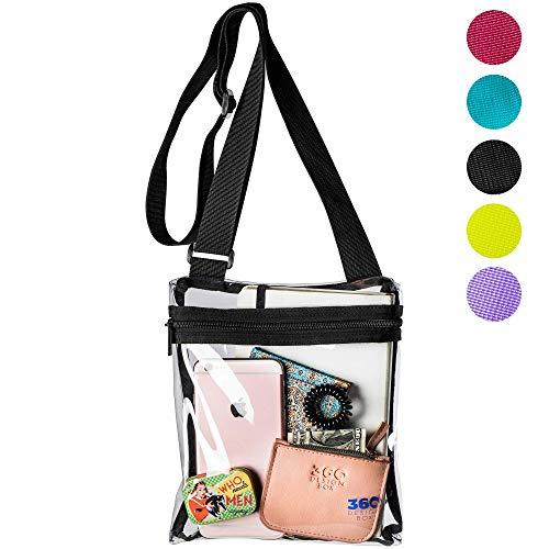 Adjustable Clear Messenger Bag, PGA, NCAA & NFL Clear Purse Stadium Approved, Transparent See Through Shoulder Handbag for Events (Black)