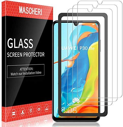 MASCHERI 3 Piezas Protector de Pantalla Compatible para Huawei P30 Lite Cristal Templado Marco de posicionamiento Vidrio Templado Protector Pantalla Compatible para Huawei P30 Lite