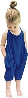 Darkyazi Baby Cute Summer Jumpsuits for Girls Kids Backless Harem Strap Romper Jumpsuit Toddler Pants Size 2-8Y