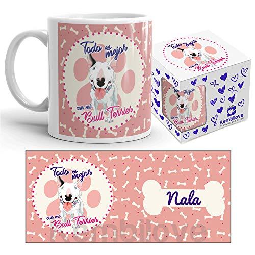 Kembilove Taza de Café de Perro Bull Terrier Personalizada con foto – Taza de Desayuno Razas de Perro – Taza de Café y Té Mascota – Taza de Cerámica Impresa – Tazas de perro Bull Terrier