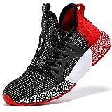 Zapatillas de Deporte para de Las Muchachas Aire Zapatos para niño Casual Unisex Niños(D Negro/Rojo,34 EU)