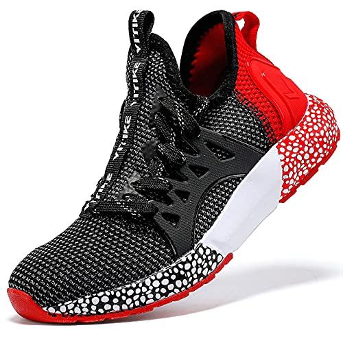 Sneaker Casual da Bambino Scarpe Sportive Corsa Ginnastica Fitness Scarpe da Basket Unisex-Bambini(D Nero Rosso,36 EU)